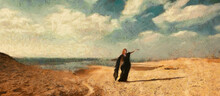 The Woman In Black Is Dancing On The Background Of The Desert. Clouds In The Sky. Artistic Work