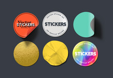 A Set Of Blank Round Adhesive Paper Stickers In Various States And Colours. Isolated Label Collection Vector Illustration.