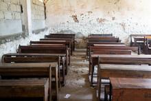 Poor School Classroom With No Children Inside