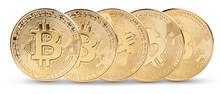 Golden Bitcoin Replica On White