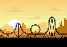 Vector Roller Coaster Ride Silhouette Park. Rollercoaster Icon Illustration Skyline Concept