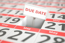 DUE DATE Sign On May 20 In A Calendar, 3d Rendering