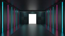 青とピンクのネオンライトに照らされた出入口 3DCG