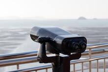 Tourist Binoculars. Binoculars Telescope On Observation Deck For Tourist.  Observatory Telescope. Observation Binoculars.
