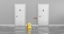 Public Toilet Doors WC For Women And Men With Yellow Sign Caution Wet Slippery Floor In Hallway, Front View. Realistic 3d Interior Hall With Grey Walls, Entrance In Restroom And Belt Barrier Fence