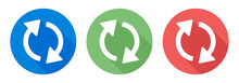 Refresh Icon. Arrow Rotation Circle On Color Button.