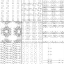 Hintergrundmuster Radialen, Vektor, 90° Radien1, 90° Radien2, Halbierte Radien1 ,halbierte Radien2, Halbierte Radien3, Halbierte Radien4, Schleifen1, Eierbecher, Formen1