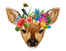 Portrait Of Fawn With A Floral Crown.  Flora And Fauna. Hand-drawn Illustration, Digitally Colored.