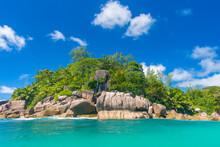 Praslin Island Shoreline On A Sunny Day, Seychelles