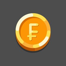 Vector Illustration Of The Swiss Frank Sign Isolated On A Dark Background. Swiss Frank Coin Flat Icon