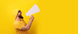 man screaming into  megaphone over yellow background, panoramic layout