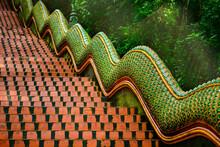 The Way Up Of Naga Stairs To Wat Prathat Doi Suthep  Chiang Mai, Thailand.
