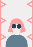 Digitally generated image of woman wearing sunglasses icon against white background