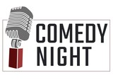 Digitally generated image of comedy night text with microphone icon on white background