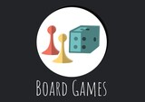 Digitally generated image of board games text with dice and pawns icons against black background