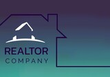 Realtor company text over a house icon against green gradient background