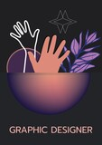 Graphic designer text against hands, stars and leaves icon on black background