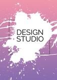 Design studio text on white paint splash against pink gradient background