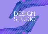 Digitally generated image of design studio text over two hands against purple background