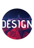 Design studio text against geometric shapes on blue round banner against white background