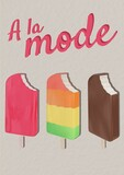 A la mode text with ice-cream icons against grey background