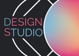 Digitally generated image of design studio text banner against abstract shapes on black background