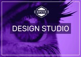 Design studio text banner against close up view of a human eye against purple background