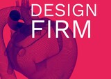 Digitally generated image of design firm text with 3d heart design icon against red background