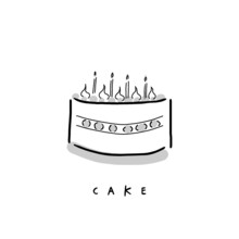 Birthday Cake With Candle On White Background, Icon Illustration Graphic Of Cake For Menu, Logo, And Sign