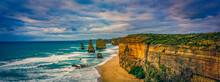 """A Beautiful Landscape View Of The """"twelve Apostles"""" Next To The Great Ocean Road In Australia."""