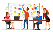 Scrum Board Meeting. Business Team Planning Tasks, Office Workers Conference And Workflow Plan Flowchart Cartoon Vector Illustration