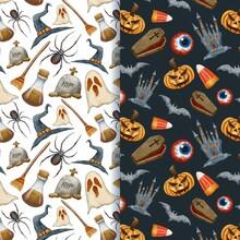 Watercolour Halloween Spooky Creatures Patterns Vector Design Illustration