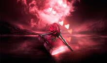 Fantasy Magic Dark Red Background, Night Landscape, Red Rose And Old Book. Vintage Magic Book Of Love With Bokeh Hearts. Smoke, Smog, Red Neon Reflection On Water. Magic, Fortune Telling. 3D.