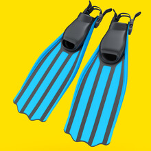 Blue Diving Flippers Isolated On Yellow. 3d Render Of Snorkeling Equipment