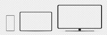 Device Screen Mockup. Smartphone, Tablet, And Monoblock Monitor, With Blank Screen For You Design. PNG.