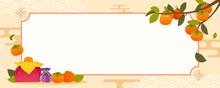 Korean Autumn Banner Background Vector Illustration. Persimmons Branch Frame For Korean Greeting Season