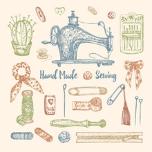 Set Of Hand-drawn Vintage Sewing Tools. Sew Machine, Needle, Scissors, Mannequin, Buttons, Tailor Meter. Sketch Engraving Style. Elements For Logos, Icons Isolated On White Background. Vector