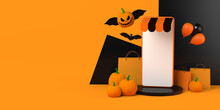 Halloween Online Shopping With Smartphone And Bat Pumpkin. Copy Space. 3D Illustration.