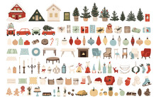 Set Of Christmas New Year Winter Icons Xmas Tree, Houses, Red Cars, Gifts, Balls, Home Interior Elements - Tables, Chairs, Food, Carpet And Vases. Vector Illustration In Hand Drawn Flat Style