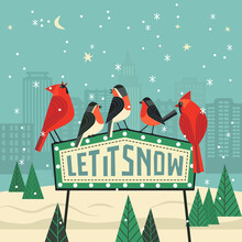 Cute Winter Backyard Birds. Let It Snow Lettering. Red Northern Cardinal, Robin On Snow Background Of City Garden. Colorful Cartoon. New Year Event Banner Background. Christmas Greeting Vector Design