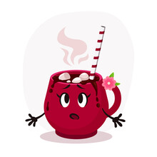 Surprised Cartoon Flat Christmas Red Cup Illustration. Hot Choccolate With Marshmallows