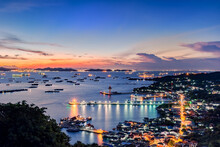 Colorful Sky At Sunrise Landscape Uboltarana Condemned Shot From The Viewpoint Si Chang, Thailand, Soft And Select Focus