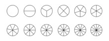 Circles Divided In Segments From 1 To 12 Isolated On White Background. Pie Or Pizza Round Shapes Cut In Equal Slices In Outline Style. Simple Business Chart Examples. Vector Linear Illustration.