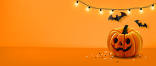 Halloween Background With Lamps Light, Pumpkin And Halloween Elements On Orange Color Background.Website Spooky,Background Or Banner Halloween Template.Vector Illustration