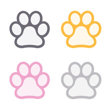 Cat Paw Print. Footprint. Animal Colorful Paw Isolated On White Background. Vector Illustration.