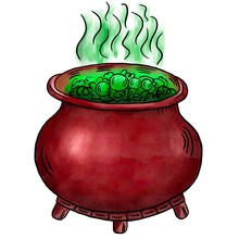 Green Witch Potion In A Pot