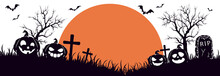 Halloween Banner With Orange Moon And Pumpkins