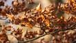 Jesienne liście na gałęzi drzewa
