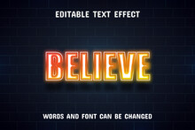Believe Text - Neon Style Text Effect