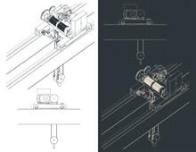 Double Girder Overhead Crane Electric Chain Hoist Blueprints